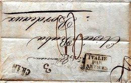 ITALIEPAR ANTIBES   CACHET TAMPON CS 1 A LETTRE 3 ADRESSEE A  BORDEAUX 1837 - Marcophilie (Lettres)