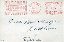 46165 Switzerland, Red Meter Freistempel Ema FRONT OF COVER,1954 Basel Hirudoid,physiologisches Anticoagulans - Médecine