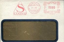 46166 Switzerland, Red Meter Freistempel Ema FRONT OF COVER,1949 Basel, Pharmacy Pharmacie, Sandoz - Pharmacie