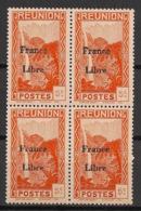 Réunion - 1943 - N°Yv. 222 - France Libre - Cascade 5c - Bloc De 4 - Neuf Luxe ** / MNH / Postfrisch - Réunion (1852-1975)