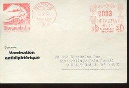 46168 Switzerland, Red Meter Freistempel Ema, Front Of Cover ,1935 Bern, Pharmacy Pharmacie Rheumakutin Vaccination - Médecine