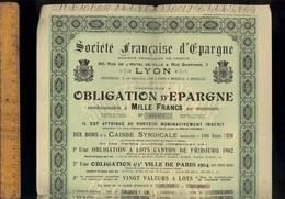 Obligation De La SOCIETE FRANCAISE D'EPARGNE LYON Bons Canton Fribourg 1902 Ville Paris 1904 Panama 1889 Congo 1888 - Banca & Assicurazione