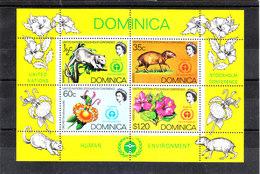 Dominica  - 1972. Conferenza Protezione Ambiente. Animali, Orchidea, Ibisco. Environment Conference. Animal,Orchid,Ibisc - Protezione Dell'Ambiente & Clima