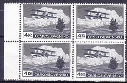 ** Tchécoslovaquie 1930 Mi 307 (Yv PA 14), (MNH) Type II, Bloc De 4 - Czechoslovakia