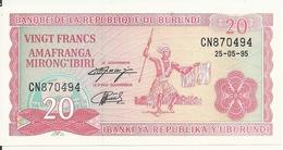 BURUNDI 20 FRANCS 1995 AUNC P 27 C - Burundi