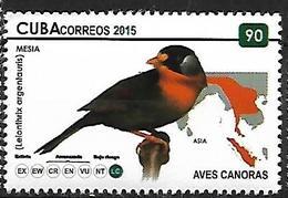 CUBA - MNH - 2015 -    Silver-eared Mesia    Leiothrix Argentauris - Zangvogels