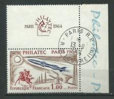 FRANCE: Obl., N° YT 1422, Brun, Bleu Foncé Et Carmin, Av. Vignette Et Bdf, TB - Frankreich