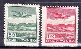 ** Tchécoslovaquie 1930 Mi 303-4 (Yv PA 10-11), (MNH) Type II, - Czechoslovakia