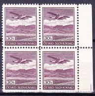 ** Tchécoslovaquie 1930 Mi  (Yv PA 18), (MNH) Bloc De 4 - Czechoslovakia
