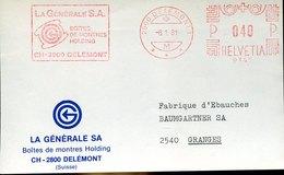 46185  Switzerland Front Of Cover  ,red Meter Freistempel Ema 1981 Delemont Watch Uhren, Horloges - Horlogerie