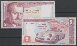 2019 Matej Gabris 5 Shilling Ferdinand Porsche 356 365 1948 70 Jahre UNC SPECIMEN ESSAY Tirage Limité - Specimen