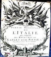 ITALIE NAPLES SICILE  ATLAS MAP CARTE GEOGRAPHIQUE ANCIENNE PAGE DE TITRE DECOUPEE FRONTISPICE GRAVE 18° - Geographical Maps