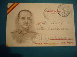 1939 TARJETA POSTAL SALUDO A FRANCO ARRIBA ESPANA  SPEDITA DA LEGIONARIO ITALIANO - Guerra 1939-45