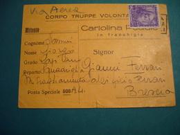 1939  CORPO TRUPPE VOLONTARIE  CARTOLINA POSTALE IN FRANCHIGIA  VIA AEREA - Guerra 1939-45