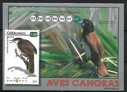 CUBA - MNH - 2011 -       Zapata Wren    Ferminia Cerverai (stamp) +  Tricolored Munia    Lonchura Malacca - Grues Et Gruiformes