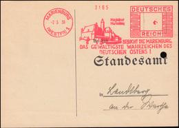 AFS Magistrat Marienburg - Wahrzeichen Des Ostens, Postkarte Standesamt 2.5.39 - Architecture
