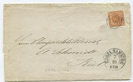 1857 Altdeutschland Schleswig-Holstein Brief Hamburg Nach Kiel - Schleswig-Holstein