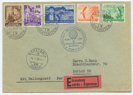 1939 Liechtenstein Ballonpost Eil Brief Vaduz Nach Bäretswil Zürich Schweiz  ►RAR◄ - Poste Aérienne