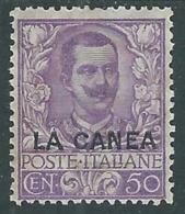1905 LEVANTE LA CANEA FLOREALE 50 CENT MH * - RA10-6 - 11. Uffici Postali All'estero