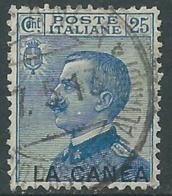 1907-12 LEVANTE LA CANEA USATO EFFIGIE 25 CENT - RA14-9 - 11. Oficina De Extranjeros