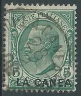 1907-12 LEVANTE LA CANEA USATO EFFIGIE 5 CENT ULTIME TIRATURE - RA14-4 - 11. Oficina De Extranjeros