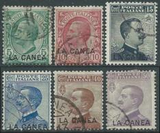 1907-12 LEVANTE LA CANEA USATO EFFIGIE 6 VALORI - RA14-7 - 11. Oficina De Extranjeros