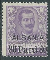 1907 LEVANTE ALBANIA FLOREALE 80 PA SU 50 CENT SENZA GOMMA - RA10-7 - 11. Foreign Offices
