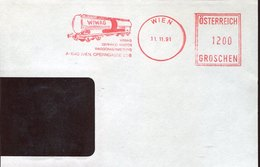 46194 Austria  ,  Front Of Cover, Red Meter Freistempel Ema, Wien 1991,   Wiwag , Railway Wagen, Wagon - Trains