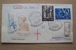 ITALIA BUSTA PRIMO GIORNO FDC F.D.C. RACCOMANDATA REALMENTE VIAGGIATA TRIESTE 1955 BEATO ANGELICO - 1946-60: Storia Postale