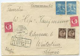 1934 Rumänien R Brief Satu Mare Nach Winterthur Schweiz - 1918-1948 Ferdinand I., Charles II & Michel