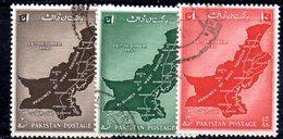 APR1739 - PAKISTAN 1955 ,  Yvert N. 79/81 Usata (2380A) Unificazione - Pakistan