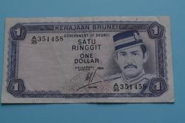 Satu Ringgit - One Dollar / Keluaran Series 1986 ( A-35 351458 ) KERAJAAN BRUNEI ( See/voir/zie Photo ) ! - Brunei
