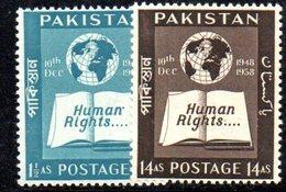 APR1746 - PAKISTAN 1958 , Serie Yvert N. 100/101  ***  MNH  (2380A) Human Right - Pakistan