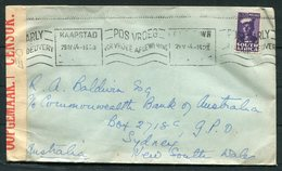 1944 South Africa Cape Town Slogan Censor Cover - Sydney Australia - South Africa (...-1961)