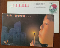 Human Beings,society And Fire,Match & Child,China 2000 Longyan Fire Service Unit Propaganda Advert Pre-stamped Card - Firemen