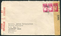 WW2 South Africa Durbam PJG Wootton Censor Cover - Arvey Corporation, Congress Park, USA - South Africa (...-1961)