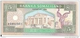 SOMALILAND 5 SHILLINGS 1994 UNC P 1 - Somalia