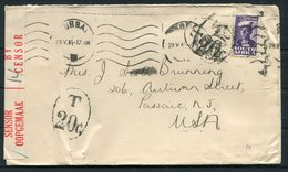1944 South Africa Durbam Censor Cover - USA. Postage Due, Taxe - South Africa (...-1961)