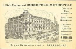 "CP De STRASBOURG "" Hotel-restaurant MONOPOLE-METROPOLE "" - Straatsburg"