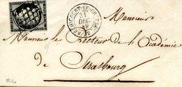 Cérès 20 C Noir (YT N° 3) Oblitéré Grille Et Cachet à Date Au Type 15 De Réchicourt Le Château (Meurthe) 31/12/1849 - 1849-1850 Cérès
