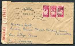 1944 South Africa Durban Censor Cover - General Church Military Service Commission, USA - South Africa (...-1961)