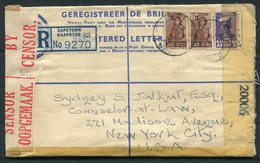1944 South Africa Cape Town Uprated Registered Letter, Censor - New York, USA - South Africa (...-1961)