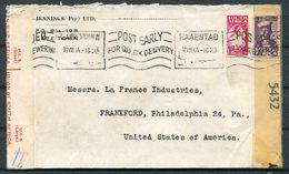 1944 South Africa Cape Town Post Early Slogan Censor Cover - Frankford PA. USA - South Africa (...-1961)