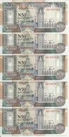 SOMALIE 50 SHILLINGS 1991 UNC P R2 ( 5 Billets ) - Somalië