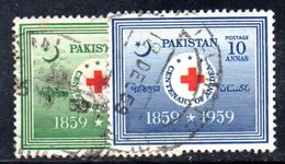 APR1751 - PAKISTAN 1959 , Serie Yvert N. 105/106  Usata  (2380A) Croce Rossa - Pakistan