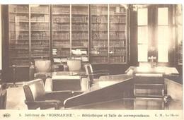 """Intérieur De """"Normandie"""" - Bibliothèque Et Salle De Correspondance - Paquebots"""