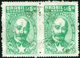 BRAZIL # 905 - ESPERANTO -  ZAMENHOF   -  1959   PAIR USED - Brazil