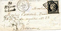 Cérès 20 C Noir (YT N° 3) Sur Devant De Lettre Cursive 52 / St Ciers- / La Lande Et CAD Au Type 15 Saint Aubin La Lande - 1849-1850 Cérès