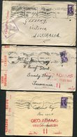 WW2 South Africa X3 (different) Censor Label Covers - Australia - South Africa (...-1961)