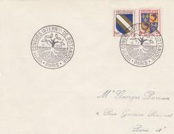 FRANCE - LETTRE CACHET COMMÉMORATIF VIIIe CONGRES INTERNATIONAL DE BOTANIQUE PARIS 12.7.1954 - Yv N°953-954 /1 - Marcophilie (Lettres)